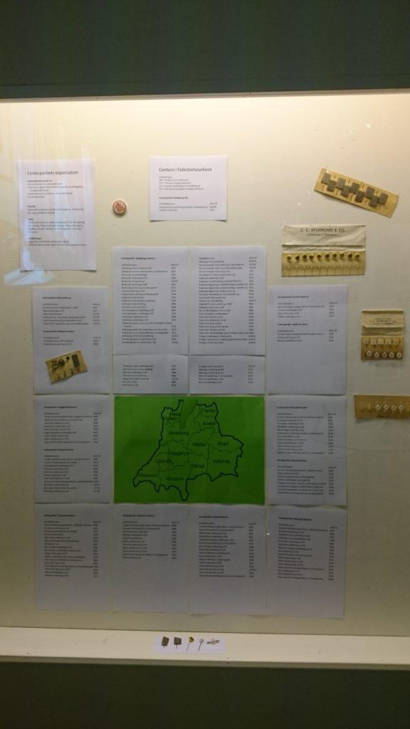 Stiliserad karta över Jönköpings län omgiven av listor med namn på arkiv som förvaras på Folkrörelsearkivet. Även rockslagsmärken monterade bland listorna.