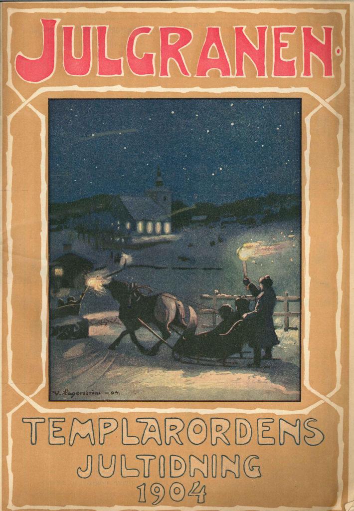 Häst och släde med människor åker över genom ett vinterlandskap i mörker.
