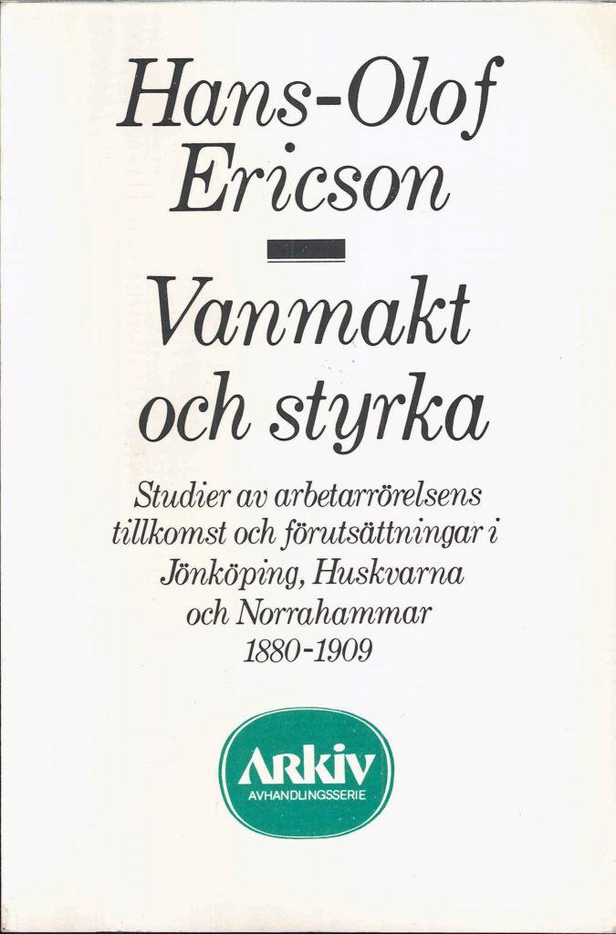 Framsida på boken Vanmakt och Styrka. Text mot vit bakgrund.