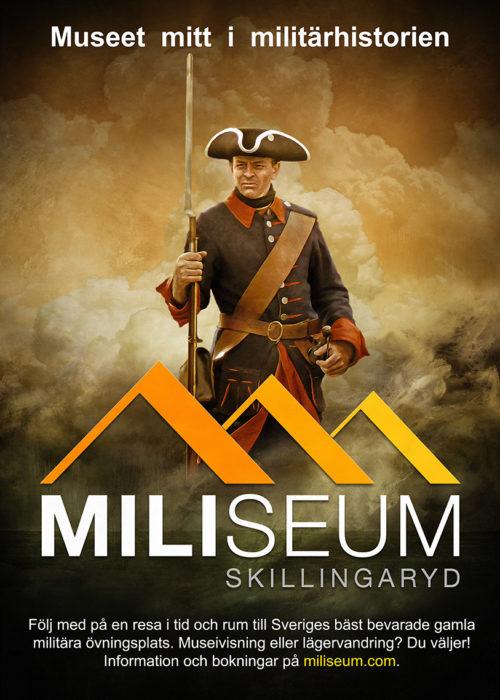 """Affisch med texten """"Miliseum Skillingaryd"""". På affischen en målad soldat med blå uniform, trekantig hatt och gevär."""