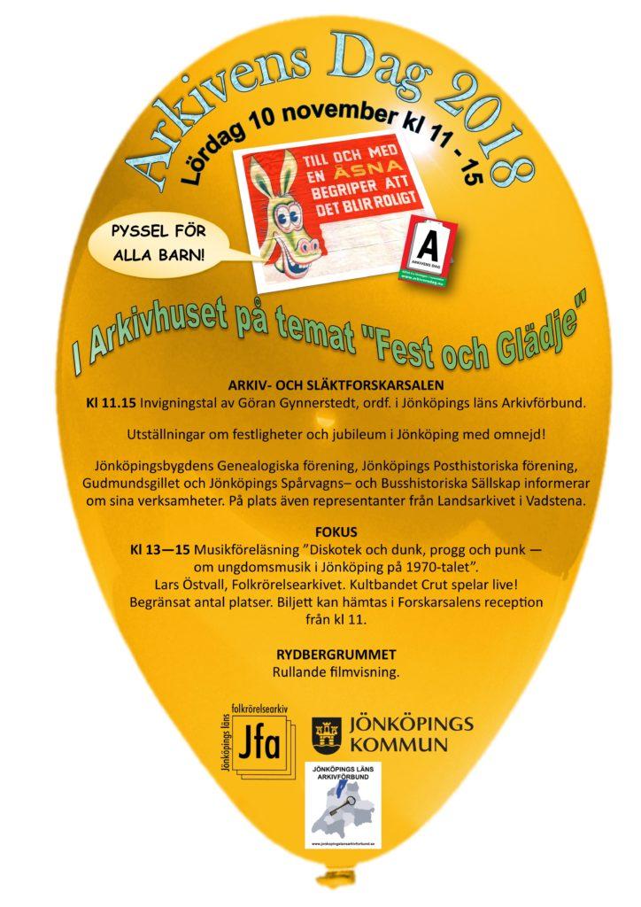 Affisch i formen av en gul ballong med text och loggor.