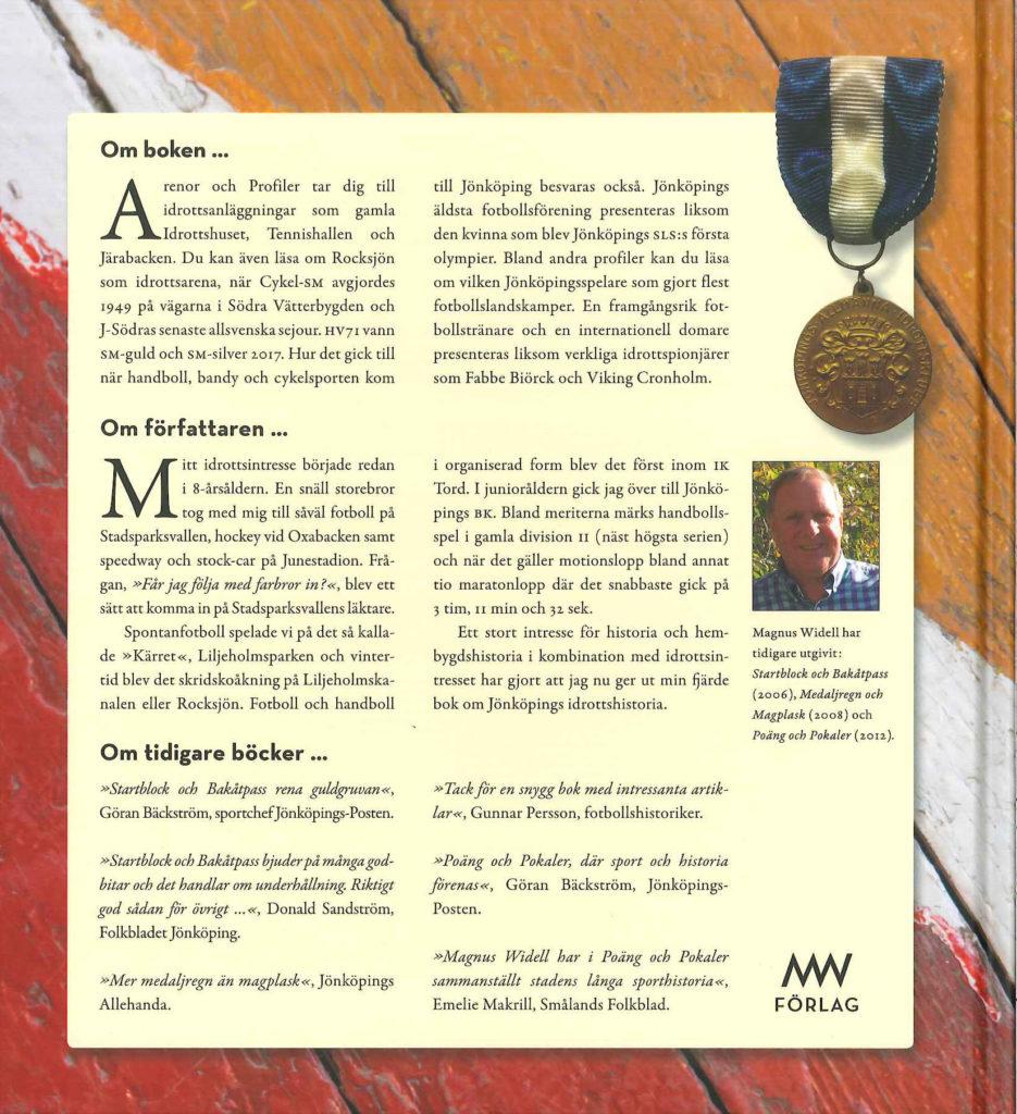 Baksida av bok. Bild på författare. Bild på en medalj.