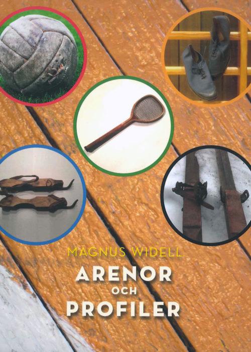 Bild på framsida av bok som utgörs av fem bilder mot en bakgrund bestående av målade träplankor.