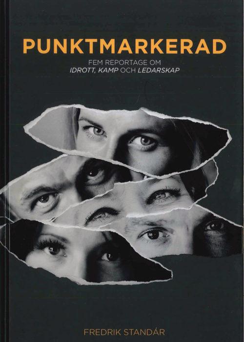 Framsida av bok. Fem stycken bilder av ögonpartier lagt som ett collage.