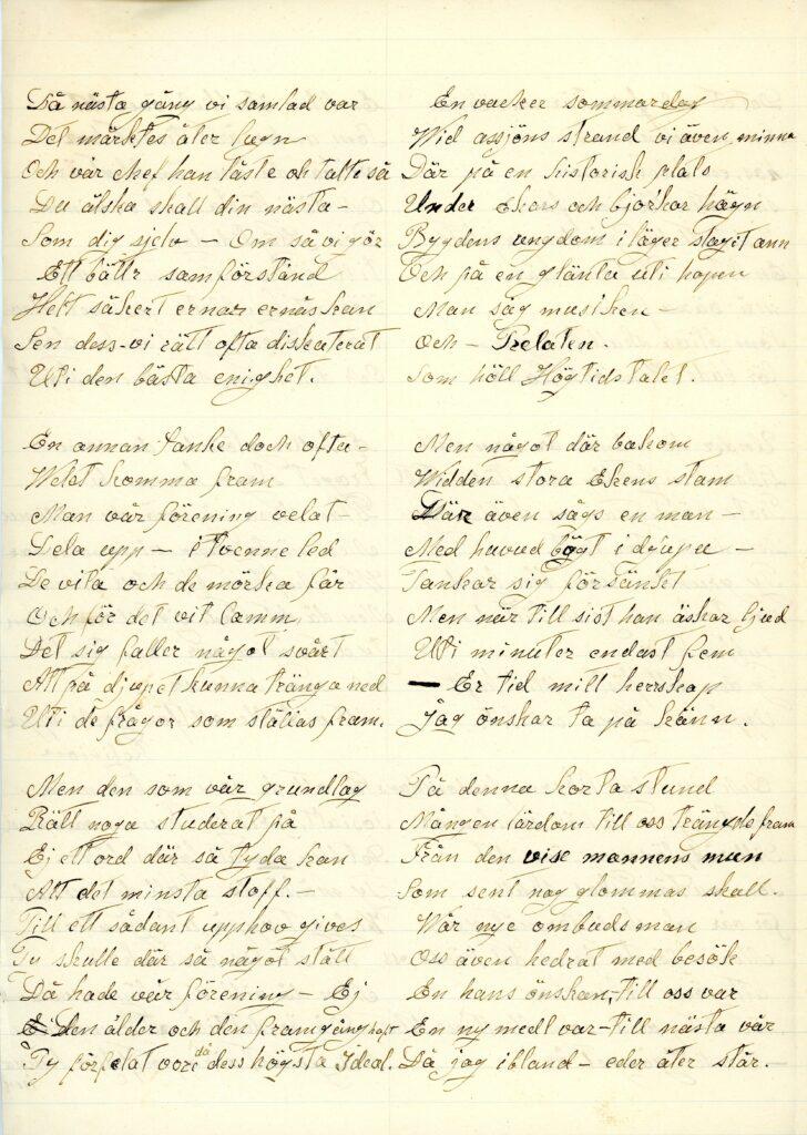 Ett gulnat dokument med handskrift. Texten är uppdelad i sex stycken.