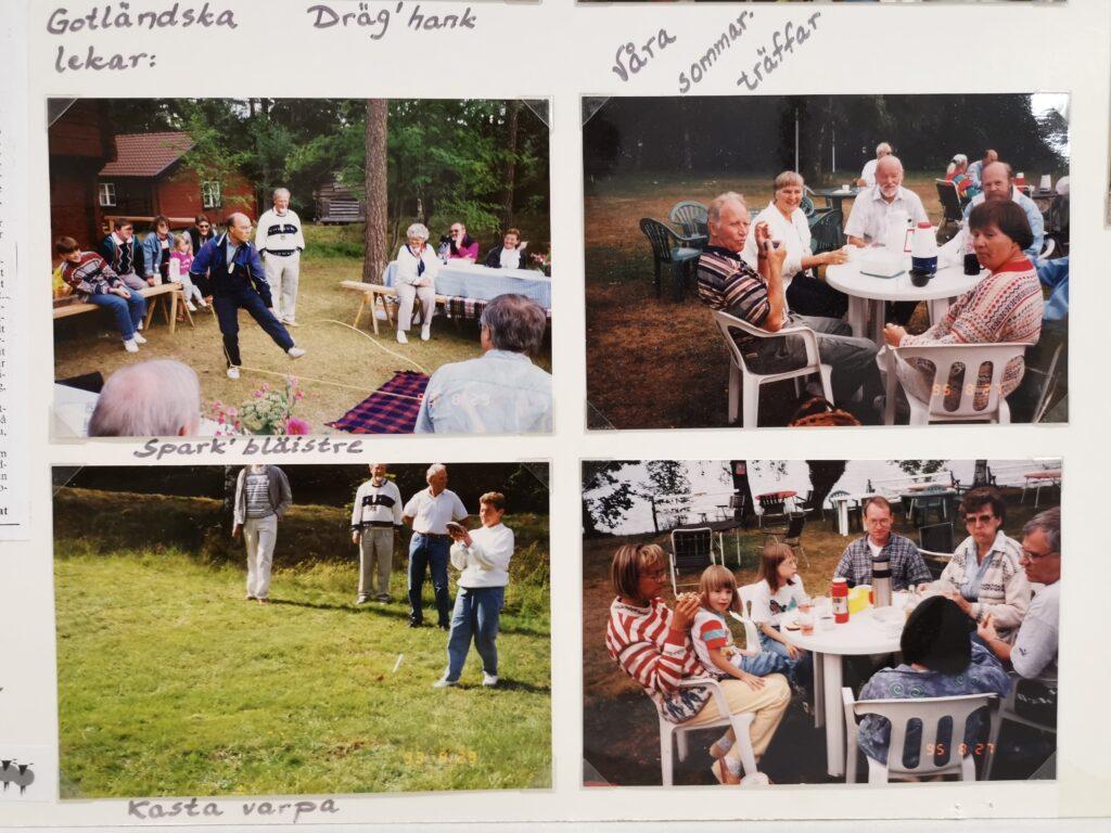 Del av fotocollage. 4 foto på utomhusaktiviteter och lekar.