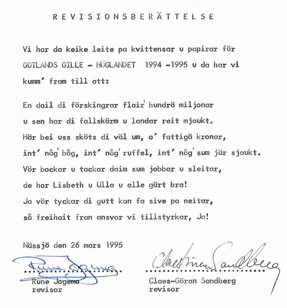 Revisionsberättelse från 1995.