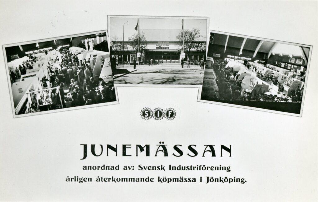 """Framsida på katalog. Tre fotografier, vimmelbilder från mässa, finns på katalogen. På katalogen även texten """"Junemässan - anordnad av Svensk Industriförening årligen återkommande köpmässa i Jönköping""""."""