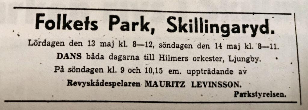 Liten tidningsannons för dans i Folket Park, Skillingaryd.