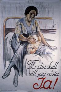 Målad affisch. En kvinna sitter på en säng och stryker en bevis över huvudet med sin hand.