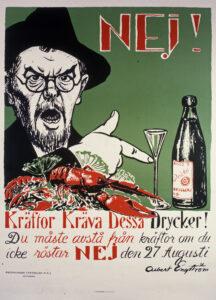 Målad affisch. En gubbe med hatt pekar på en snapsglas. Framför honom ligger en hög med kräftor.