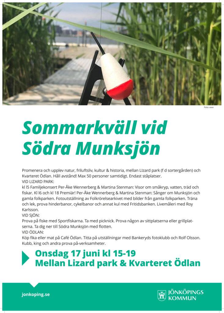 Affisch om evenemang vid Södra Munksjön 17 juni. Bild på brygga omgiven av vass. I förgrunden ett flöte.