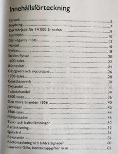 Innehållsförteckning i bok.